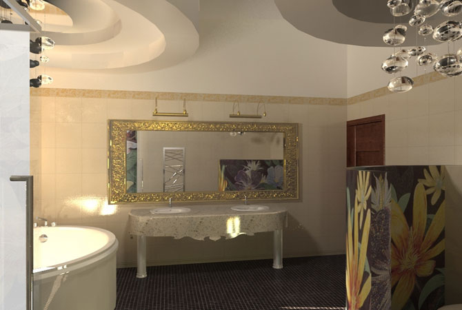 необычный яркий дизайн ванной комнаты эскизы