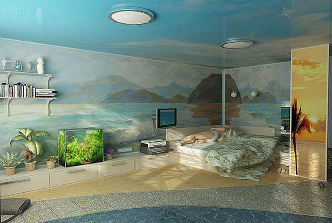 дизайн комнаты с полукруглой выпуклой стеной