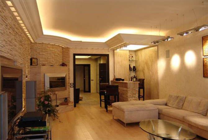 имтация каминов в интерьере квартиры
