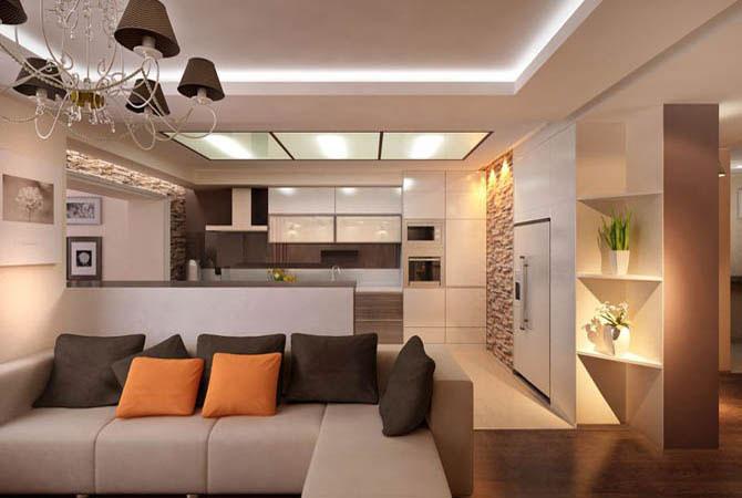 дизайн в комнате диван телевизор шкаф