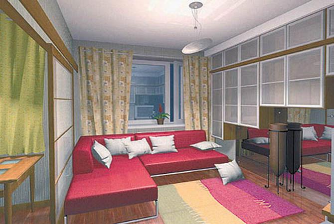 дизайн синих гостинных комнат